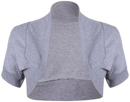 PurpleHanger Women's Ribbed Bolero Shrug Cardigan Top Plus Size Light Grey 20-22