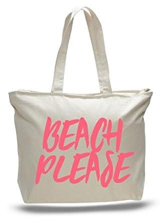 Fox & Clover Beach Please Zippered Tote Bag