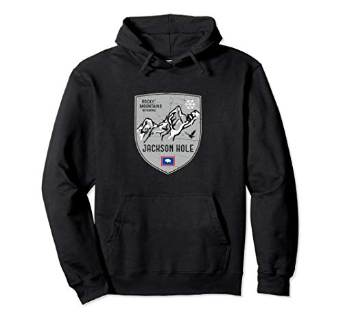 (Jackson Hole Mountain Wyoming Emblem Hoodie)