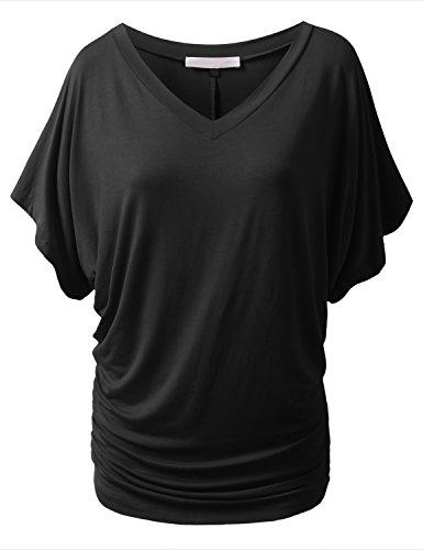 URBANCLEO Womens Short Kimono Sleeve V-Neck Dolman Drape Shirts Black, 5XL