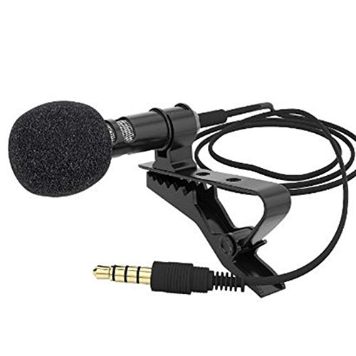 ueharatigeryibo Mini Microphone Condenser Clip-on Lapel Lavalier Mic Wired for Phone Laptop