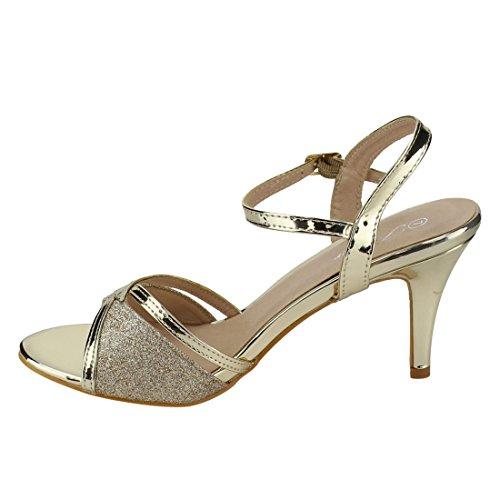 Per Sempre Fq28 Donna Glitter Metallico Cinturino Alla Caviglia Fibbia Avvolta Sandali Con Tacco In Oro