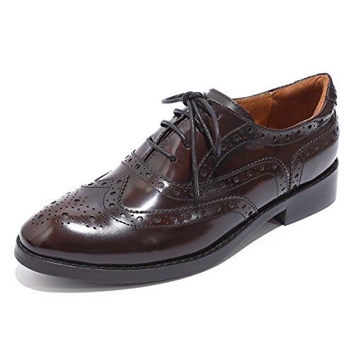 Mona flying Womens Leather Perforated Lace-up Brogue Wingtip Derby Saddle Oxfords Shoes for Womens ladis Girls Wine-Black]()