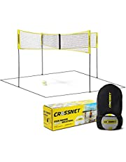 CROSSNET 4 Square Volleyball Net & Game Set - Volleyball Set for Backyards - Yard Games for Kids and Adults - CROSSNET Game 4 Square Volleyball - Includes Poles, Carrying Backpack & Ball