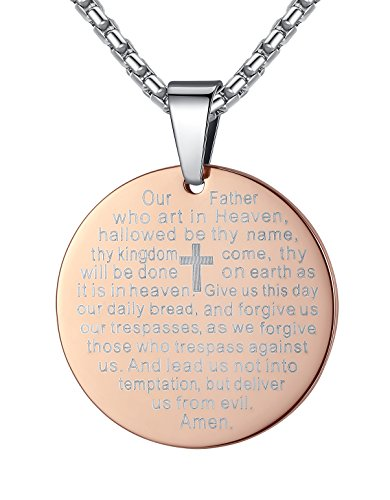 Stainless Steel Lord's Prayer and Cross Medallion Pendant Necklace, 21'', ddp060fe - Boys Medallion Necklace