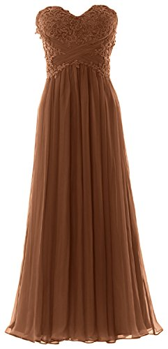 MACloth Women Strapless Prom Dress Lace Chiffon Long Evening Formal Party Gown Marrón