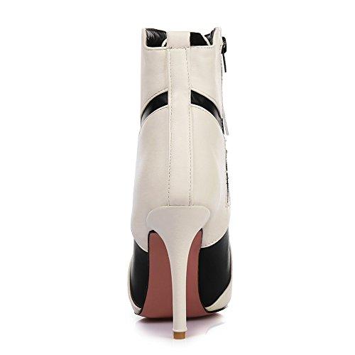Con Bianco In Alto Spillo Pelle Kingrover Sexy Stivaletti A Donna Da Tacco nZx6zS