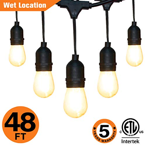 OOOLED 48-Foot Outdoor Weatherproof Commercial Grade String Lights with 16 Hanging Sockets- 18 LED Bulbs 1W S14 Incandescent Bulbs Included-Perfect Patio Lights & Party Lights-Black LED String Light by OOOLED