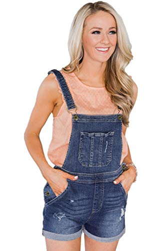 Wxnow Women's Denim Stretch Shorts Overalls Bib Casual High Waist Strap Jumpsuit Dark Blue-C M