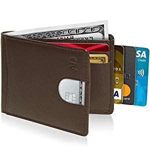 Bifold Wallets For Men Slim Wallet – Leather RFID Minimalist Front Pocket Thin Small Mens Wallet Credit Card Holder