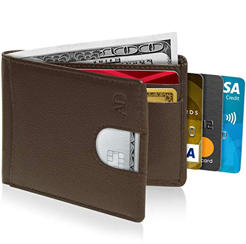 Bifold Wallets For Men Slim Wallet - Leather RFID Minimalist Front Pocket Thin Small Mens Wallet Credit Card Holder
