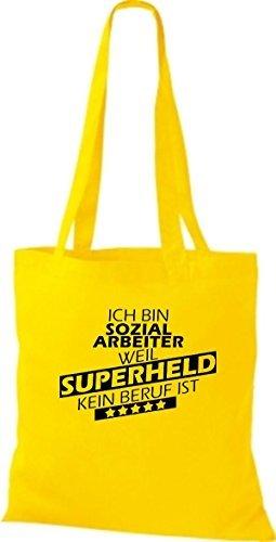 Shirtstown Bolso de tela Estoy Trabajador social, weil Superheld sin Trabajo ist amarillo dorado