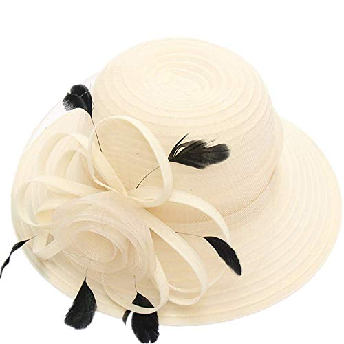 - Women Church Derby Hats Organza Wide Floral Brim Flat Hat Ladies Wedding Dress Party Occasion Cap (Beige Feather)