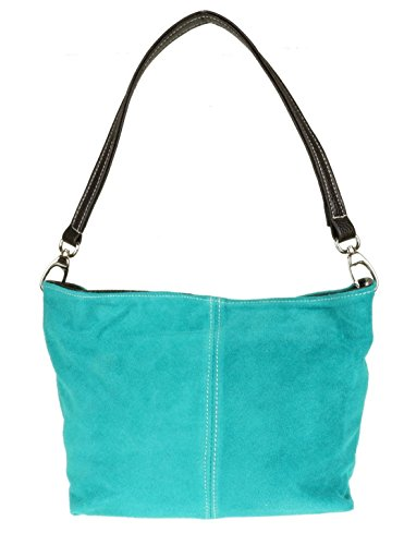 London Suede Tote Shoulder Leather Craze Genuine New Handbag Bag Turquoise Womens Zqgw1a