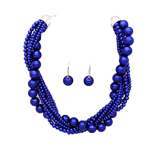 Women's Twisted Multi-Strand Simulated Pearl Statement Necklace and Earrings Set (Royal Blue Tone) - Blue Pearl Costume Jewelry