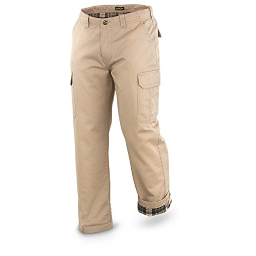 Stanley Men's Flannel Lined Twill Cargo Pant, Khaki, 34x30