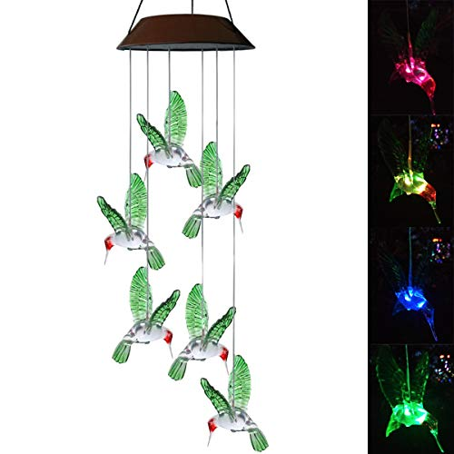 Topspeeder Color-Changing LED Solar Mobile Wind Chime LED Changing Light Color Waterproof Six Hummingbird Wind Chimes for Home Party Night Garden Decoration (Solar Energy)
