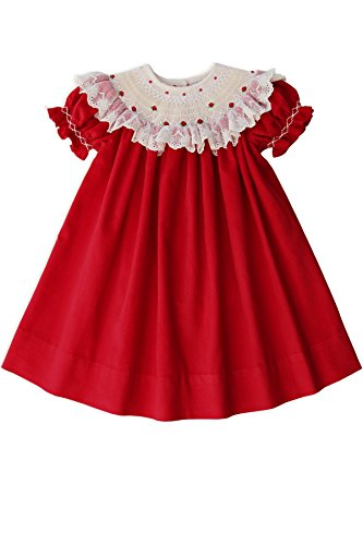 (Girls Red Christmas Smocked Bishop Dress with Cream Lace)