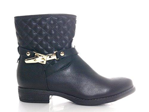 Damen Winter Boots Stiefelette warm gefüttert Schwarz # 133