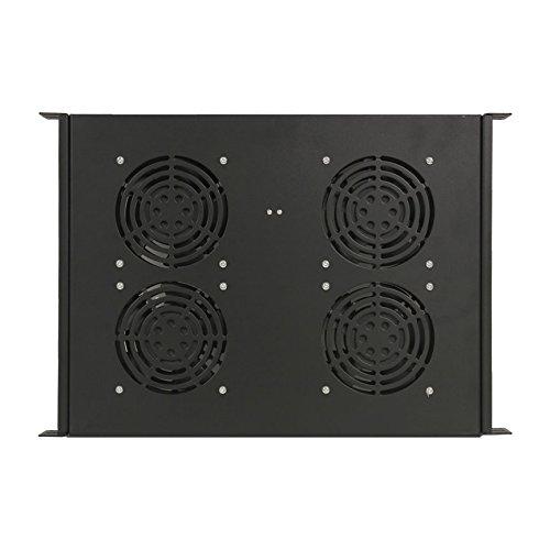 NavePoint Rack Cabinet Mounted Server Four Fan Unit Cooling System with 4 Fans 110V Blk 1U