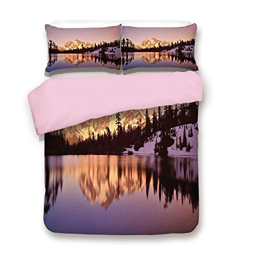 - Pink Duvet Cover Set,Queen Size,Snow Capped Mt Shuksan and Lake at Sunset Evening View National Forest Washington,Decorative 3 Piece Bedding Set with 2 Pillow Sham,Best Gift For Girls Women,Yellow Pur
