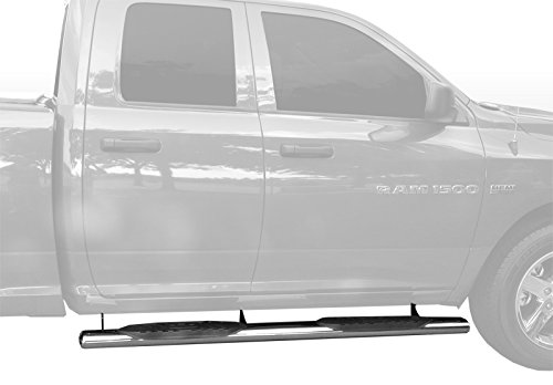 Dodge Ram 1500 Pickup Quad Extended Cab Truck Stainless Steel 5″ Straight Side Step Rails Nerf Bars Running Boards – 2pc Mounting Bracket Kit 1999 2000 01 02 03 04 05 06 07 08 09 2010 11 12 13 14 15