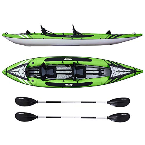 Driftsun Almanor 130 Two Person Recreational Touring Inflatable Kayak with EVA Padded Seats, Includes Paddles, Pump, Travel Bag 2 Person Travel Kayak