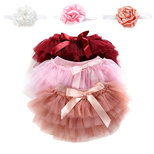 Newborn Baby Girls 3 Layers Ruffles Tulle Skirt with Bow Baby Bloomer Diaper Cover Photo Photography Prop Tutu and Headband Set (Jujube red, 0-6M)
