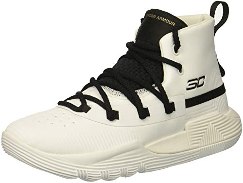 Under Armour Boys' Pre School SC 3Zer0 II Basketball Shoe, White (100)/Black, 2