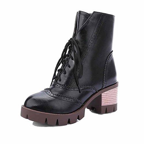 Allhqfashion Women's Mid Top Lace up Kitten Heels Round Closed Toe Boots Black DbjwxC31Ik