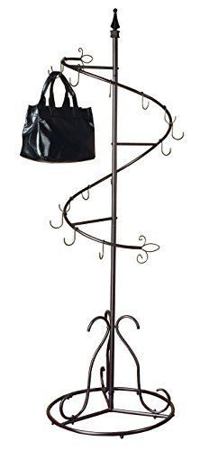 "SunRise Purse Handbag Metal Display Tree Stand/Coat Rack, Brown Painted Finish - 74""h x 24.5""diameter 15 hooks - Hallow Tube Base Assembly Required - entryway-furniture-decor, entryway-laundry-room, coat-racks - 41rkbFGmynL -"