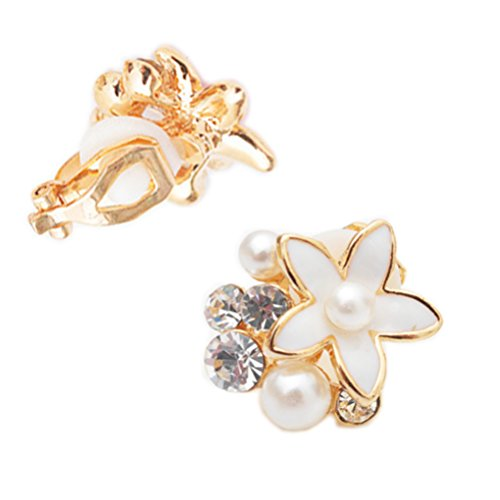 Clip on Earring Back with Pad Enamel Flower Crystal Faux Pearl Stud for Girl Kid no Piercing White