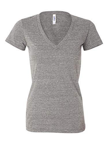 Bella Ladies Tri Blend Deep Vee T-Shirt - Grey Heather 8435 ()