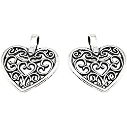 yueton?Pack of 50 DIY Heart Charms Pendants for Making Bracelet and Necklace