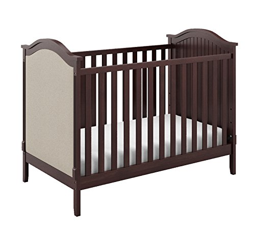 Storkcraft Rosehill Upholstered 3-in-1 Convertible Crib, Espresso/Beige, Easily Converts to Toddler Bed Day Bed or Full Bed, Three Position Adjustable Height Mattress (Mattress Not Included) For Sale