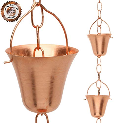 Marrgon Copper Rain Chain - Decorative Chimes & Cups Replace Gutter Downspout & Divert Water Away from Home for Stunning Fountain Display - 8.5' Long for Universal Fit - Bell Style (Rain Chimes)