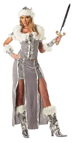 Ladies 5 Piece Sexy Viking Vixen Historical Book Day Halloween Historical Fancy Dress Costume Outfit (UK 8-10) Grey -