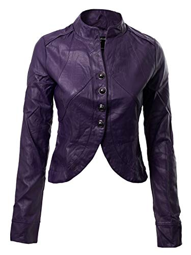 - Instar Mode Women's Long Sleeve Faux Leather Jacket Cropped Crop Top Purple L