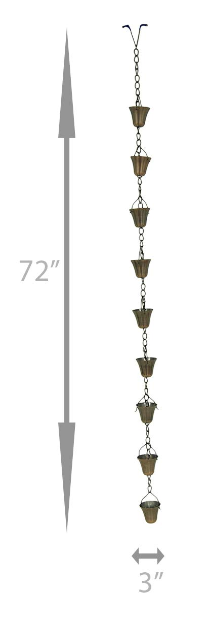 Zeckos Copper Finish Flared Cup Rain Chain 72 in.