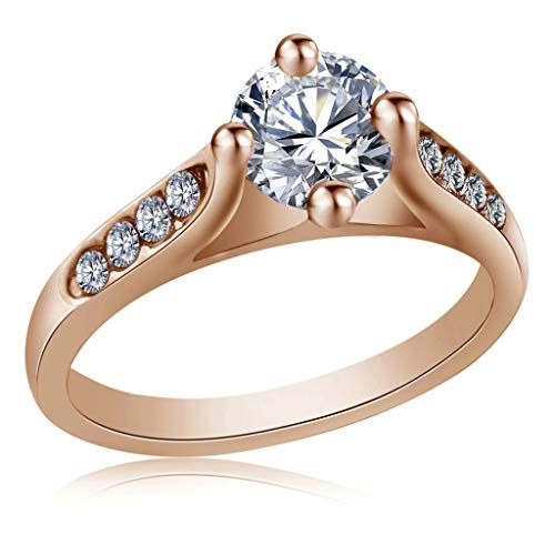(Aunimeifly Jewelry Gift, Women Exquisite Cut Plated Zircon Diamond Eternity Engagement Crystal Ring Rose Gold)