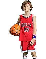 ZHAW Bulls Jordan Basketbalshirt, broek voor kinderen, jongens, 23# jersey, ademend mesh, mouwloos, trainingspak, 3XS-2XL rood-XXL