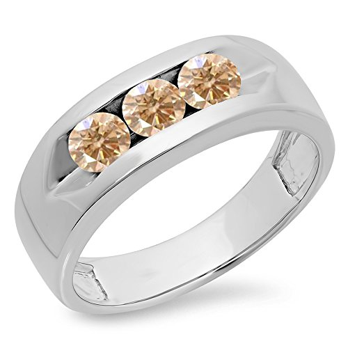 1.10 Carat (ctw) 14K White Gold Champagne Diamond Mens Channel Set 3 Stone Wedding Band 1 CT (Size 10.5)