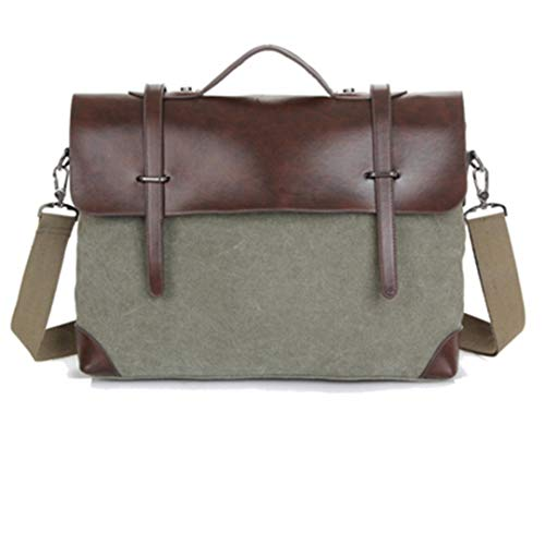 Vintage Men Messenger Bags Satchel Canvas Tote Crossbody Bag Leather Patchwork Handbags Green