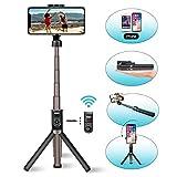 Wireless Selfie Stick, Viixm Extendable Aluminum Alloy Selfie Stick Tripod with Detachable Bluetooth