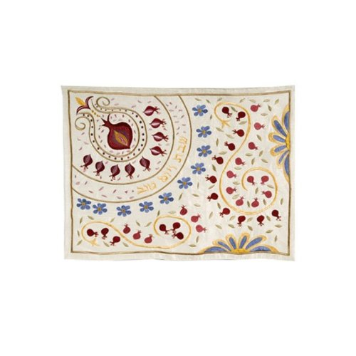 Yair Emanuel Challah Cover with Paisley Print in Raw Silk