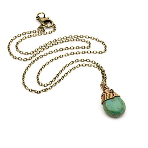 Opaque Green Czech Glass Wire-wrapped Drop Bronze Necklace 18 ()