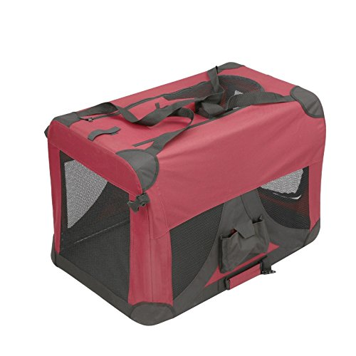 Magshion Folding Soft Crates Kennels Travel Carrier With Metal Frame, 24-Inch, For Pet Up To 30lb (Dark Red)