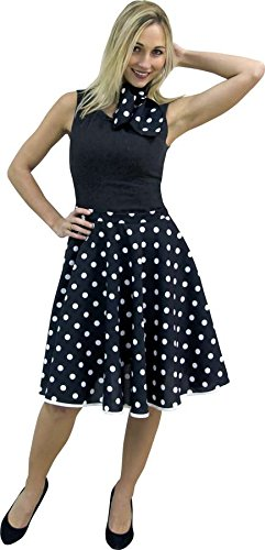 Falda Rock n Roll (con pañuelo negra a lunares (ajustable ...