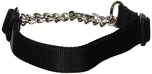 Hamilton 1 by 20 to 32-Inch Adjustable Combo Choke Dog Collar, Large, Chain and Black Nylon - Dog Combo Collar
