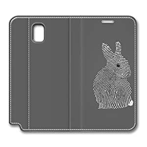 Brian114 Samsung Galaxy Note 3 Case, Note 3 Case - Customized Leather Case for Samsung Note 3 Fingerprint Bunny Protective Stand Leather Case for Samsung Galaxy Note 3